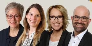 """Das Team von """"viertelvoracht"""" (v.l.): Iris Poth und Nadine Hilger (Kreis Euskirchen), Alexandra Bennau und Rainer Santema (Kreissparkasse Euskirchen) Montage: epa"""